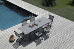 1 ensemble table Tahaa et 6 chaises pliantes grises Thema